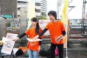 河内長野駅頭で児童虐待防止キャンペーン活動